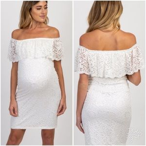 Pinkblush all white lace fitted off shoulder dress